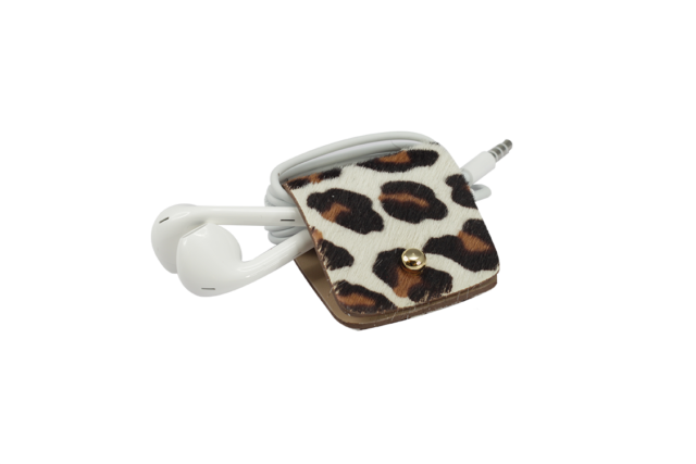 HeadPhone holder Caramel-Spotty cavallino leather made in Italy