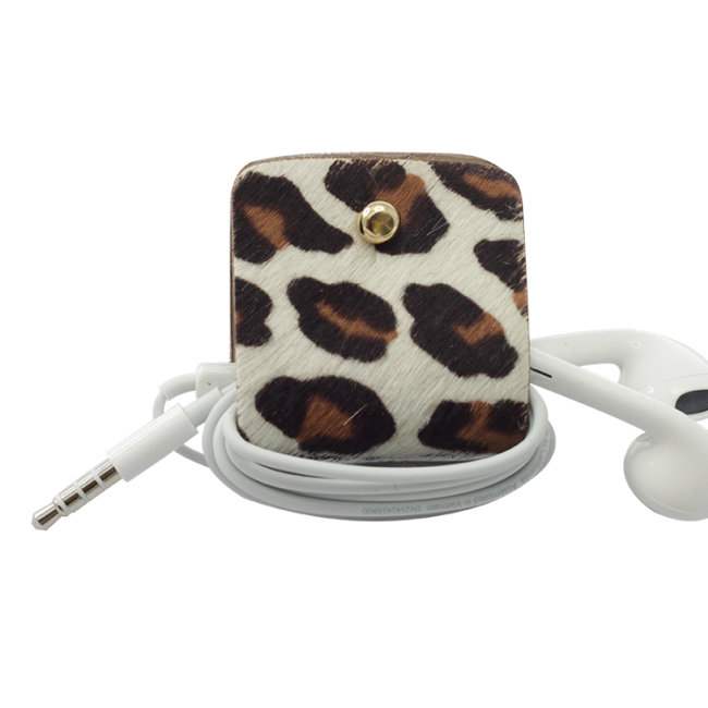 Headphone holder Caramel-Spotty-Up cavallino leather made in Italy