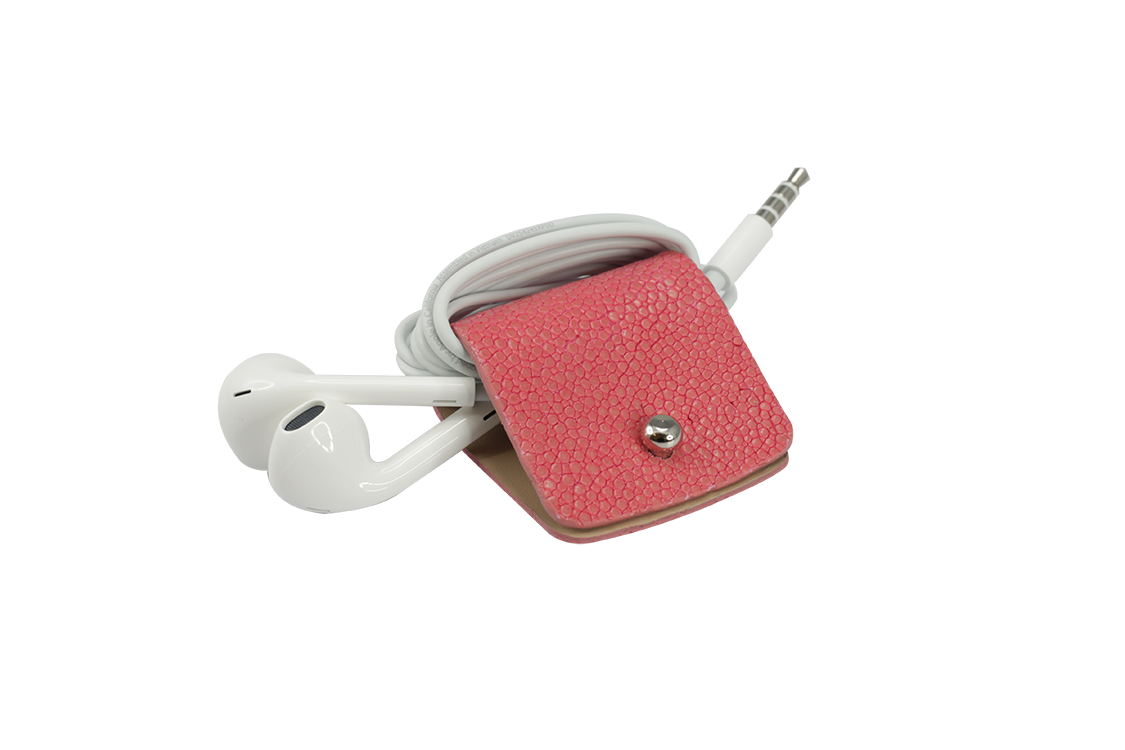 Headphone holder Cashmire-Rose galuchat leather made in Italy