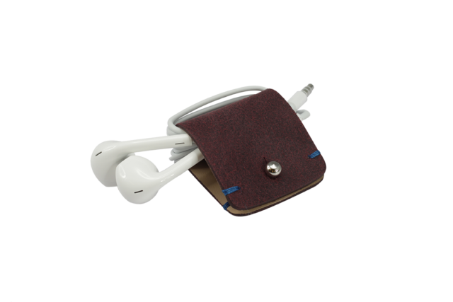 Headphone holder Colonial-Blue nappa leather made in Italy