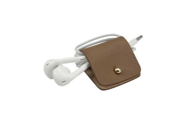 Headphone holder chestnut nappa leather made in Italy