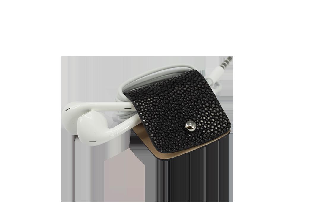 Headphone holder Dark-Secret galuchat leather made in Italy