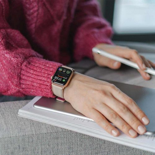 Angel-whisper-Apple-watch-powder-nappa-calf-leather-band-working-with-a-macbook-pro