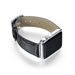 Black alligatore leather Apple watch band handamde in Italy with steel case on right