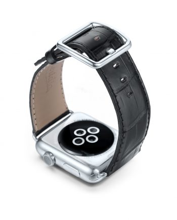 Black alligatore leather Apple watch band handamde in Italy with steel case on back