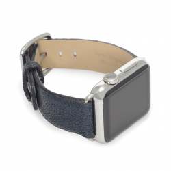 Royal blue galuchat leather apple watch band handmade in Italy