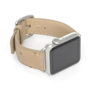 Canvas Back ostrich leather apple watch band handmade in Italy