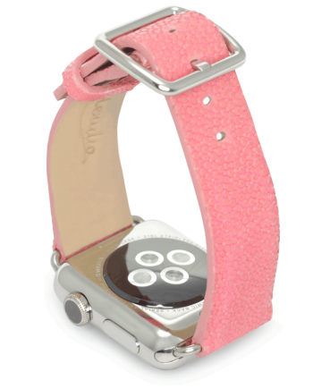 Cashmire rose galuchat leather apple watch band handmade in Italy