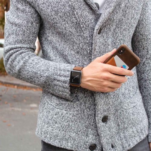 Cigar-Iphone-dark-brown-leather-case-combo-with-Apple-watch-leather-band-bs