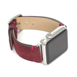 Colonial red vintage leather apple watch band handmade in Italy