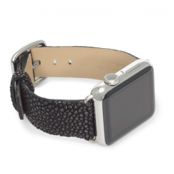 Dark secret galuchat leather apple watch band handmade in Italy