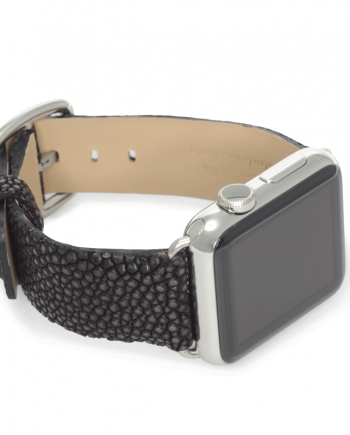 Dark secret galuchat leather apple watch band handmade in Italy