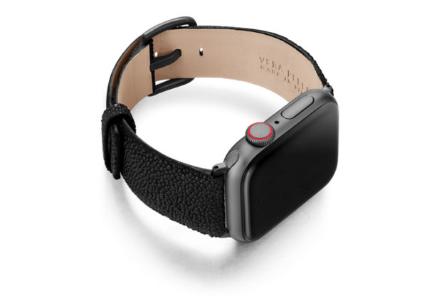 Darksecret-Apple-Watch-black-stingray-leather-band-with-case-on-right