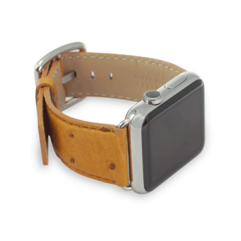 Desert Storm ostrich leather apple watch band handmade in Italy