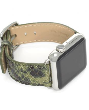 Jungle Leaf python printed leather apple watch band handmade in Italy