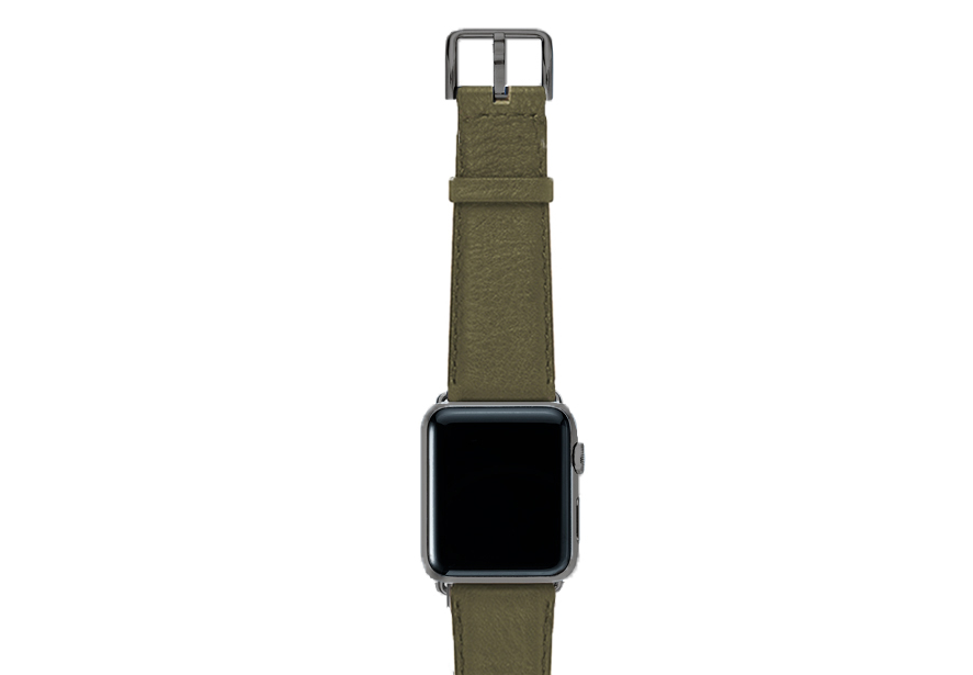 Musk-green-nappa-band-on-top-with-space-grey-adaptors