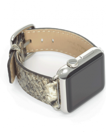 Natural python printed leather apple watch band handmade in Italy