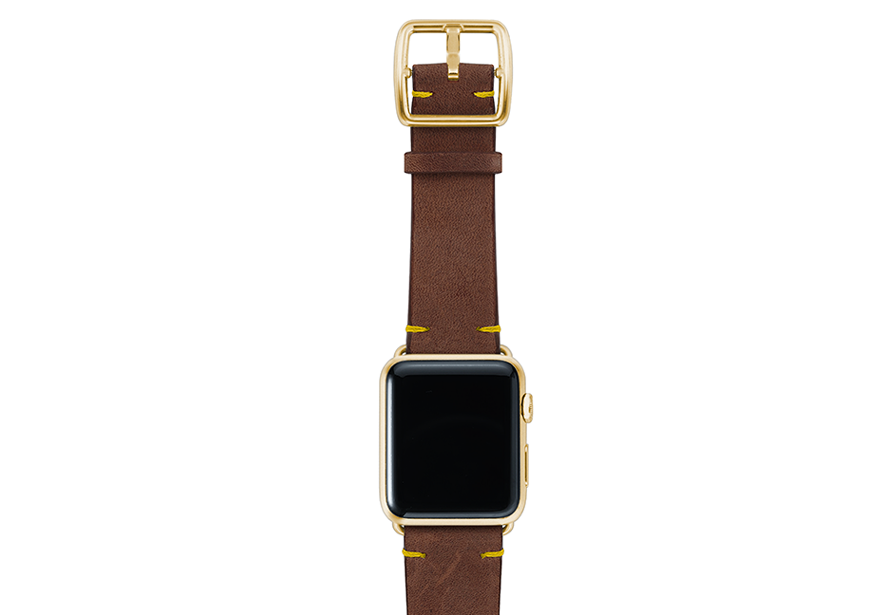 Oldbrown-top-vintage-leather-band-yellowgold