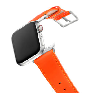 AW-fluo-Orange-nappa-band-with-stainless-steel-case-on-air