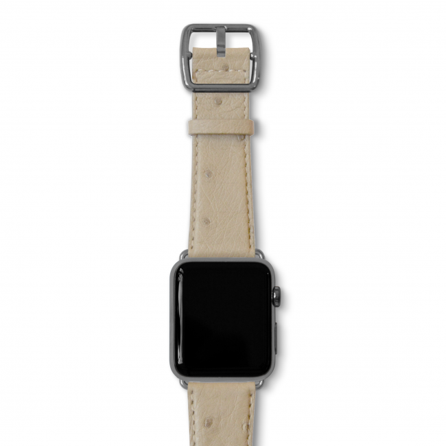 Canvasback ostrich leather band with space gray buckle