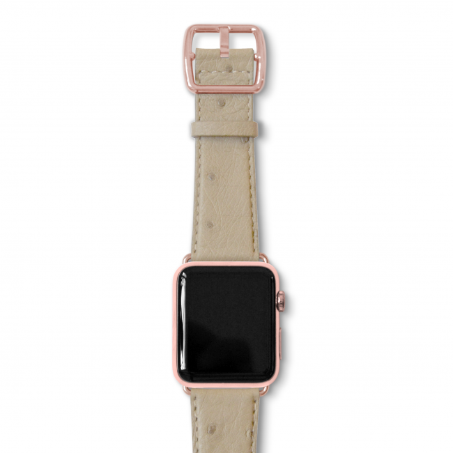 Canvasback ostrich leather band with rose gold buckle