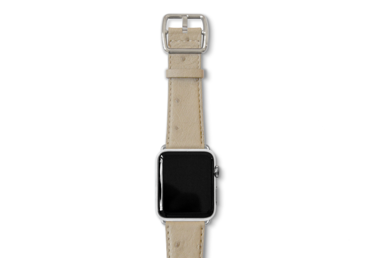 Canvasback ostrich leather band with silver buckle