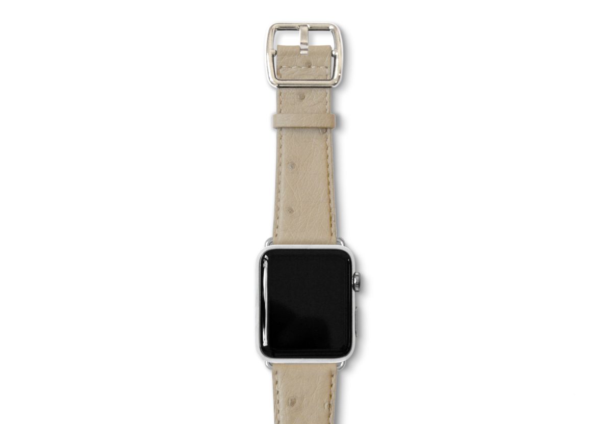 Canvasback ostrich leather band with stainless buckle