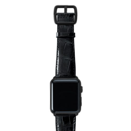 Black alligator leather Apple watch band handmade in Italy with black case