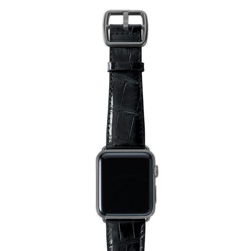 Black alligator leather Apple watch band handmade in Italy with space grey case