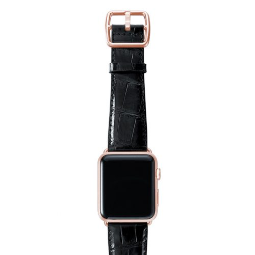 Black alligator leather Apple watch band handmade in Italy with rose gold case