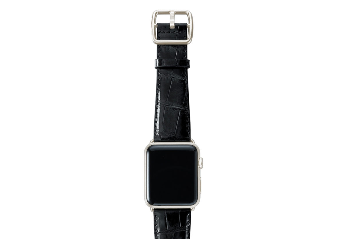 Black alligator leather Apple watch band handmade in Italy with silver case