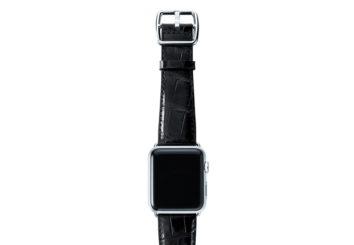 Black alligator leather Apple watch band handmade in Italy with steel case