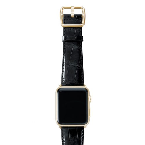 Black alligator leather Apple watch band handmade in Italy with yellow gold case