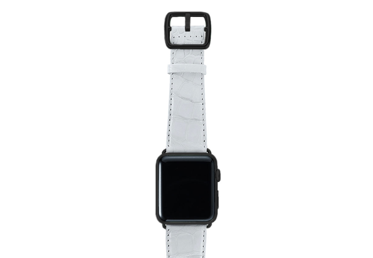 White alligator leather Apple watch band handmade in Italy with black steel case