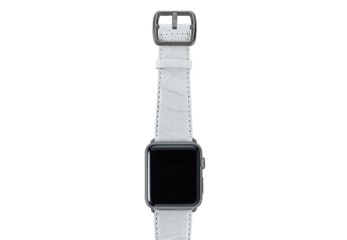White alligator leather Apple watch band handmade in Italy with space grey case
