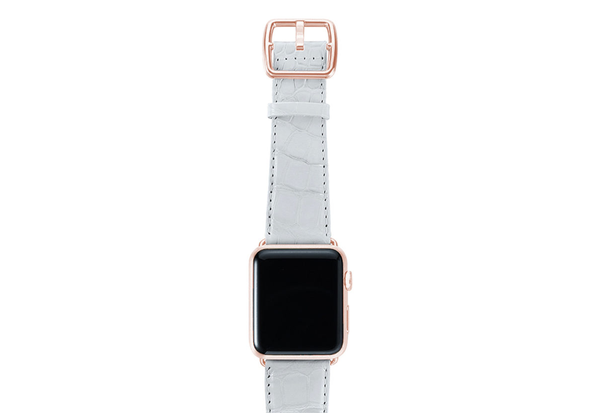 White alligator leather Apple watch band handmade in Italy with rose gold case
