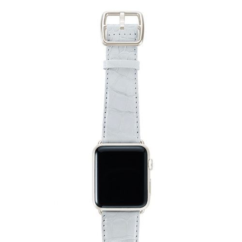 White alligator leather Apple watch band handmade in Italy with silver case