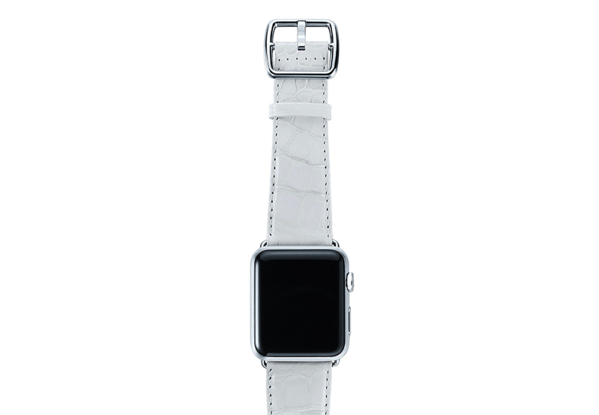 White alligator leather Apple watch band handmade in Italy with steel case