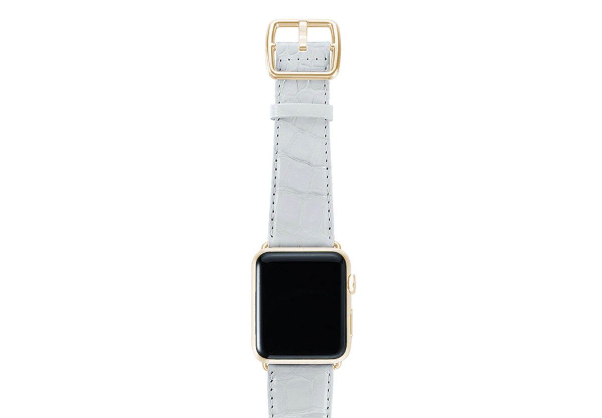 White alligator leather Apple watch band handmade in Italy with yellow gold case