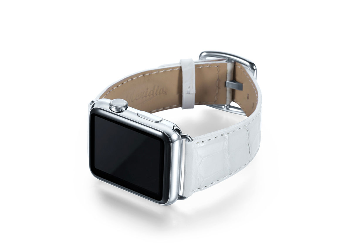 White alligator leather Apple watch band handmade in Italy with steel case on left