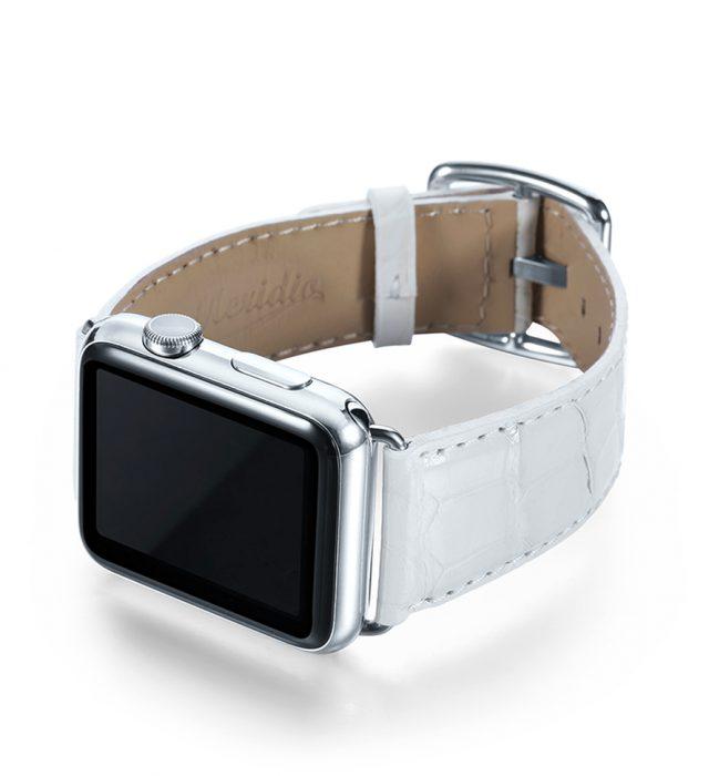 White Swan Alligator Leather Apple Watch Band Handmade In
