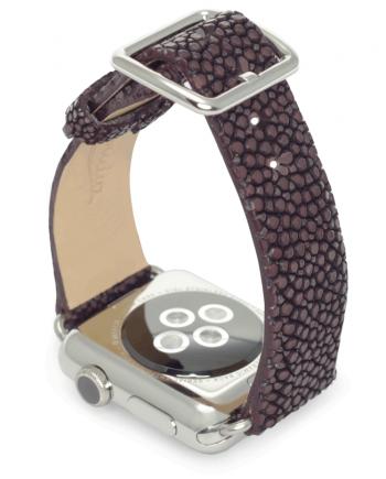 Purple rain galuchat leather apple watch band handmade in Italy