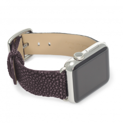 Purple rain galuchat leather Apple watch band handmade in Italy with right display