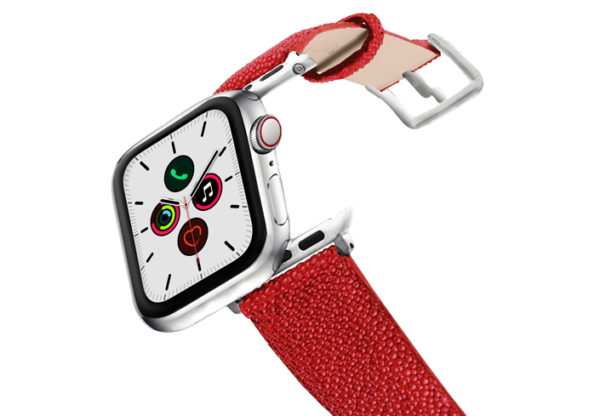 Maldives-AW-red-stingray-leather-band-stainless-steel-case-on-air