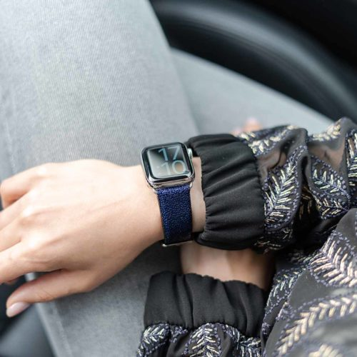 Royal-Blue-AW-stingray-leather-band-for-ladies-with-an-elegant-blue-shirt