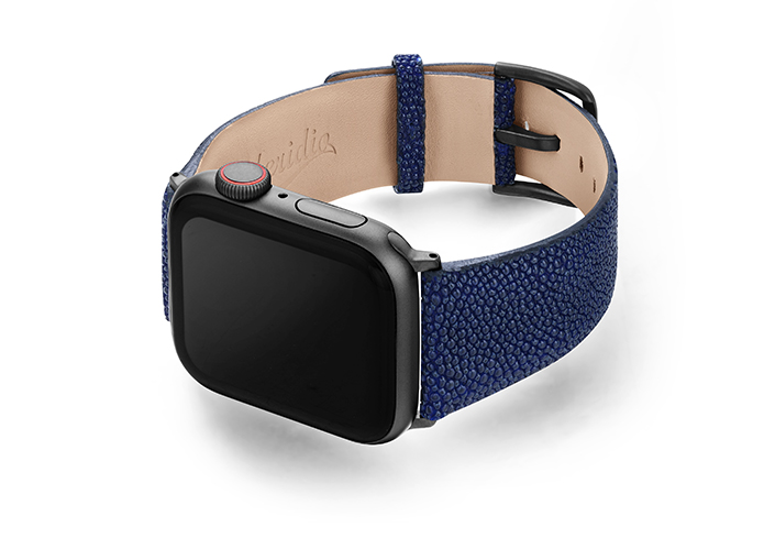 Royal-Blue-AW-stingray-leather-band-with-sapce-grey-case-on-left