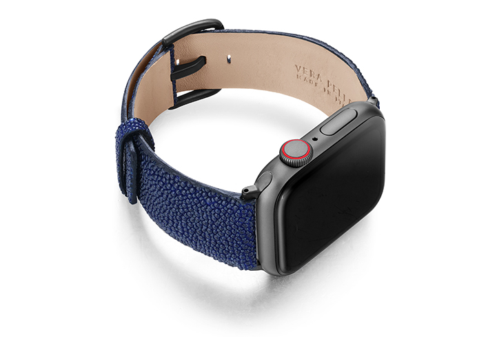 Royal-Blue-AW-stingray-leather-band-with-sapce-grey-case-on-right
