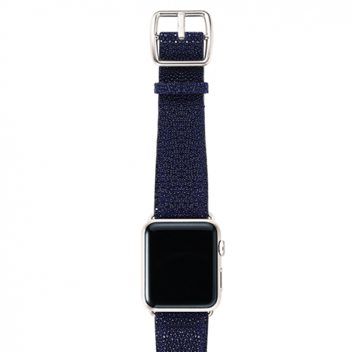 Royalblue-stingray-leather-band-top-silver
