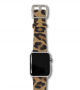 calf-hair-Spotted-Chetah-Apple-watch-leather-band-silver-case