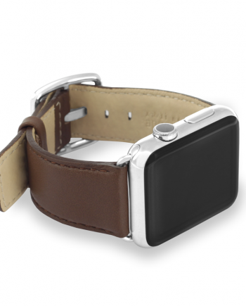 Chestnut nappa leather handmade in Italy apple watch left screen